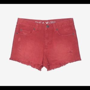 Womens RVCA Distressed Red Hello Mellow Shorts 29